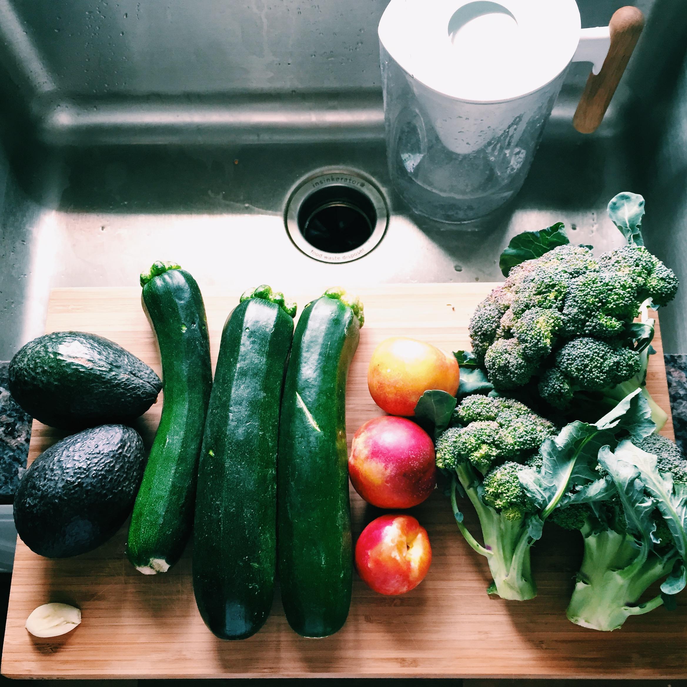 Garlic, Avocado, Zucchini, Yellow Nectarines, Broccoli, all 100% Organic (not pictured: eggs!)