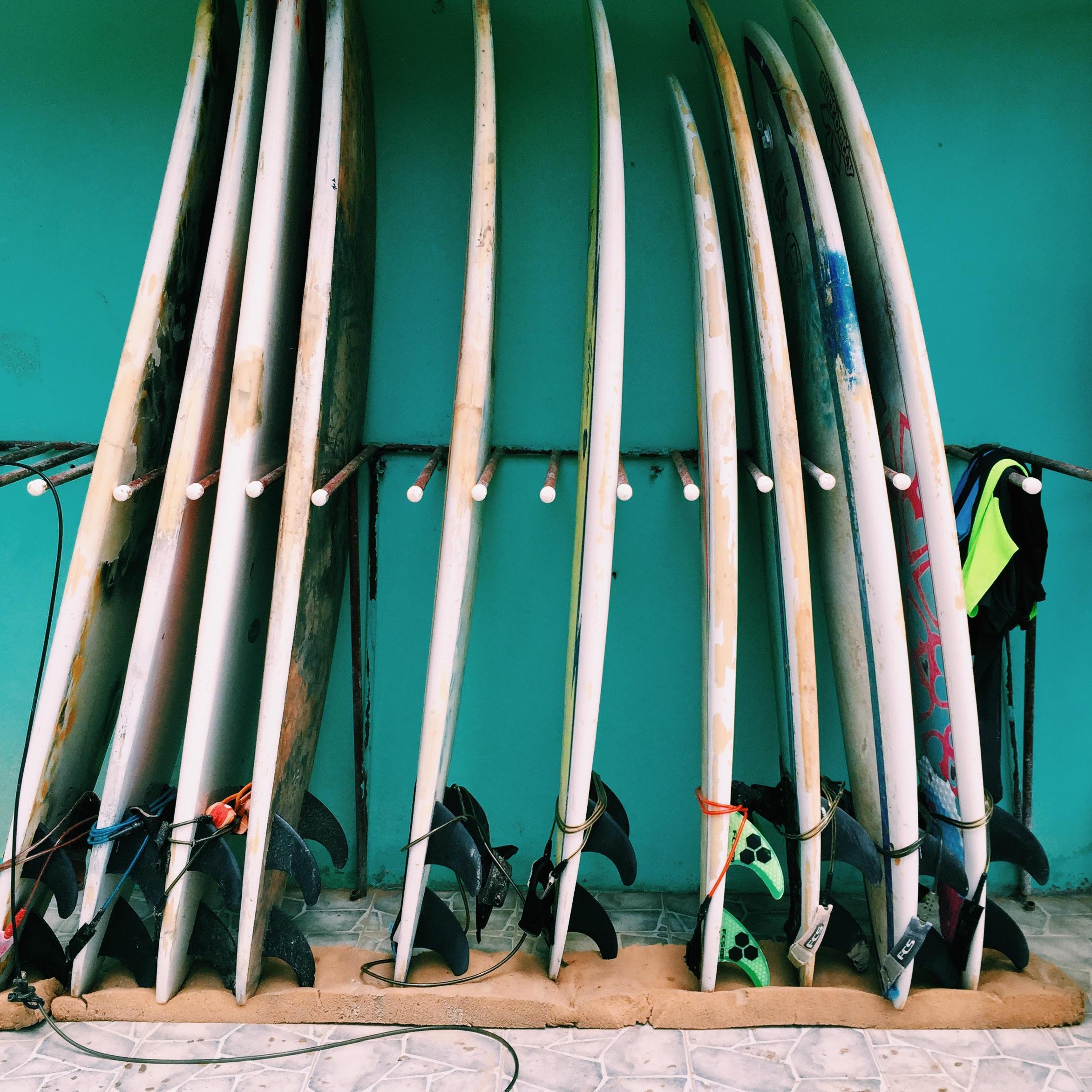 Surf boards at Playa Maderas.
