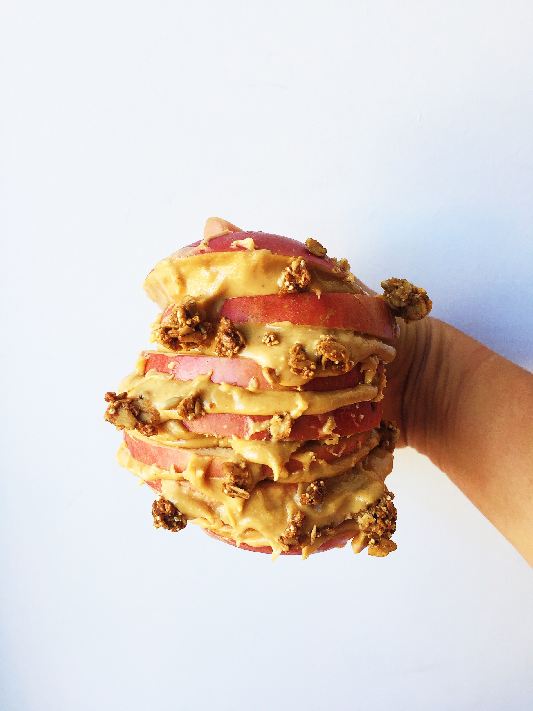 A monster of an apple/peanut butter sandwich! This can also double as a lunch, or split with a friend if you're recreating this :)