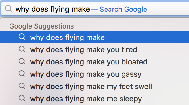 Apparently flying makes a lot of people feel like crud.