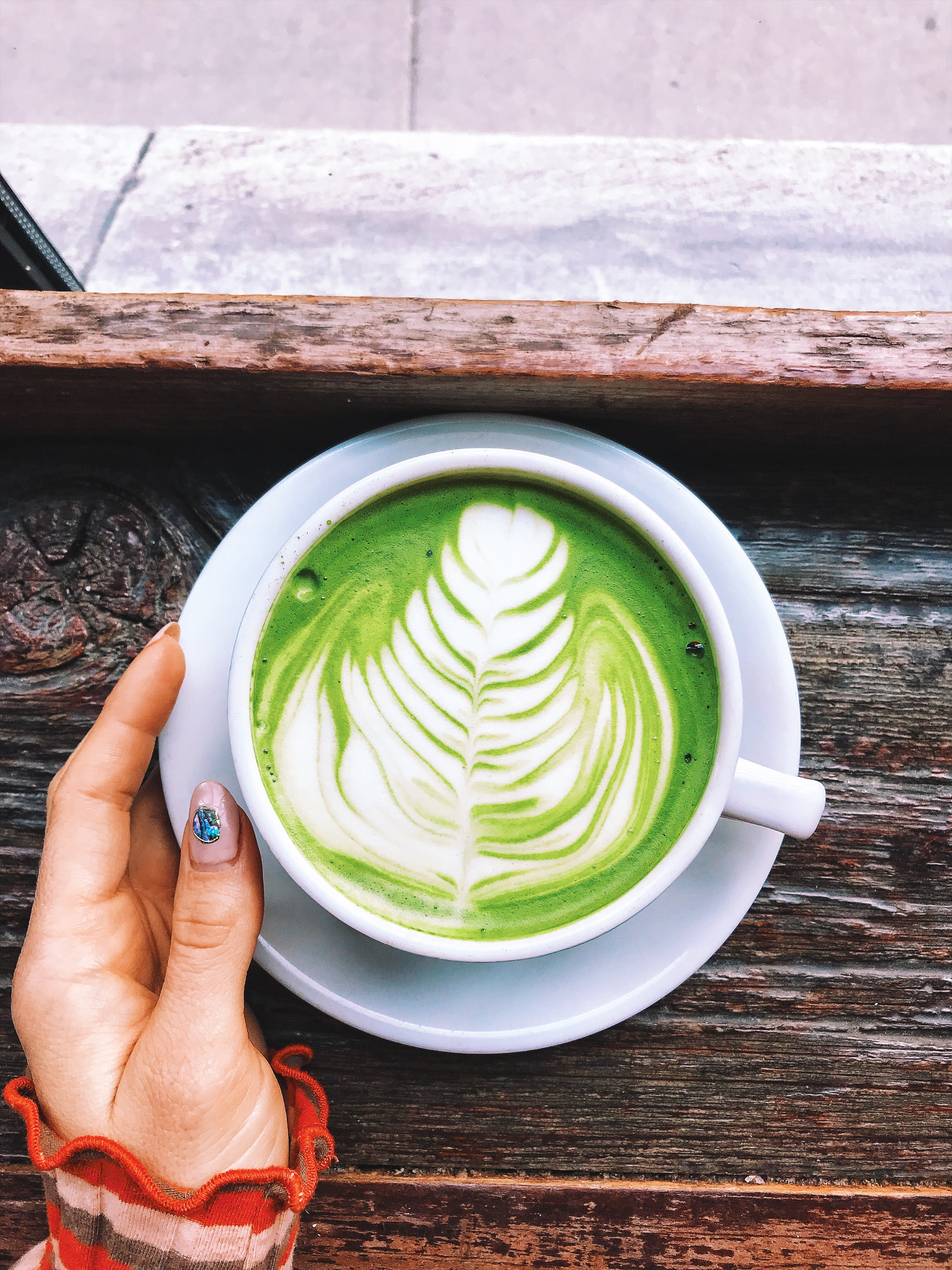 The beautiful insta-friendly Sawada matcha latte (with soy milk)...and no, I didn't drink this one. I got an almond milk one to drink and just took photos of this one. :)
