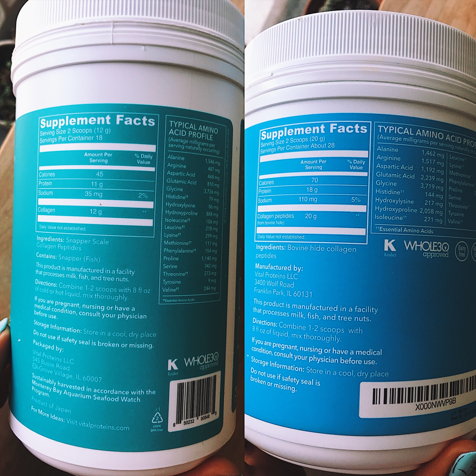 Left (teal): marine collagen Right (blue): collagen peptides