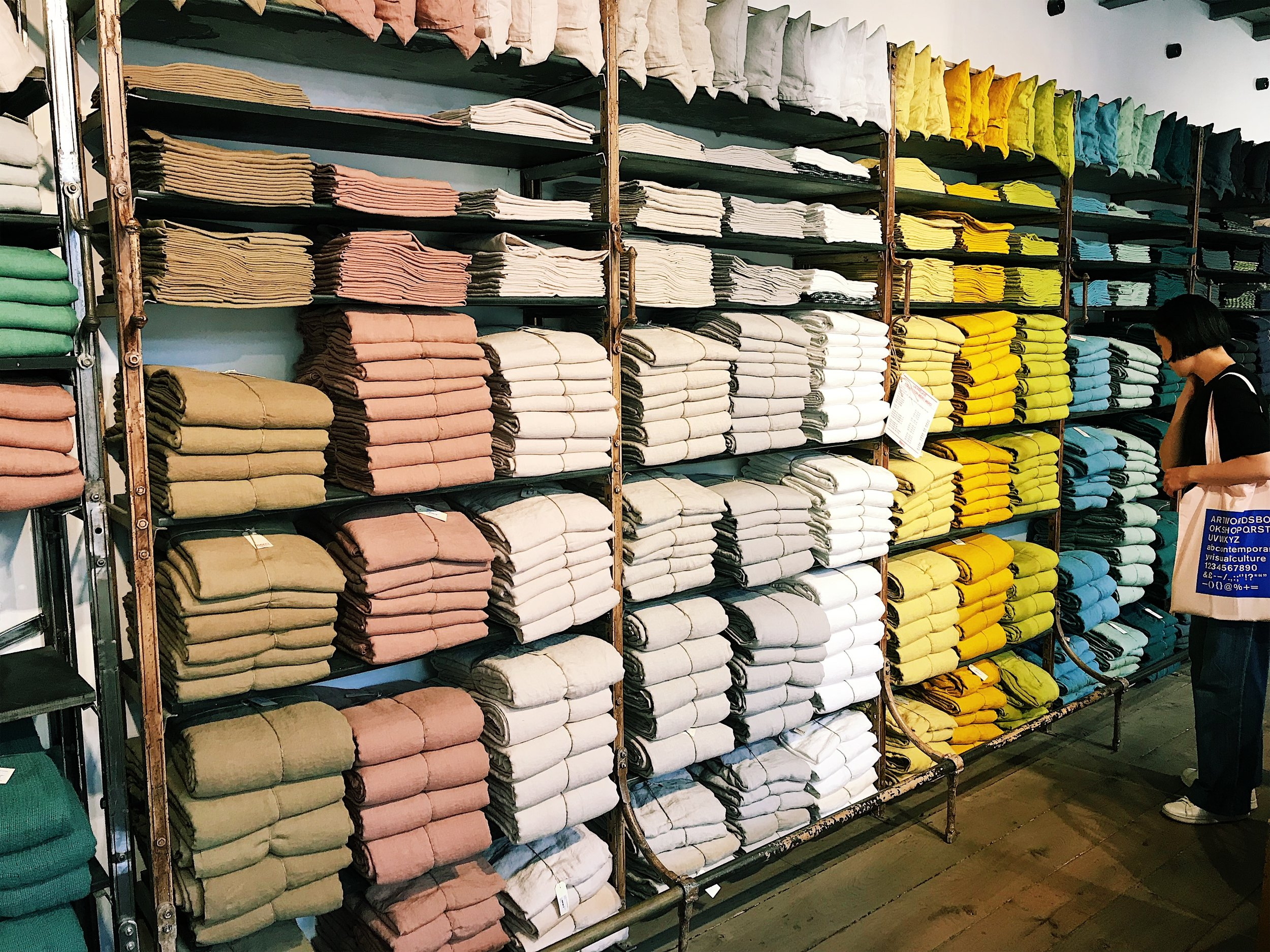 Just 1/3 of the linen collection at Merci Paris