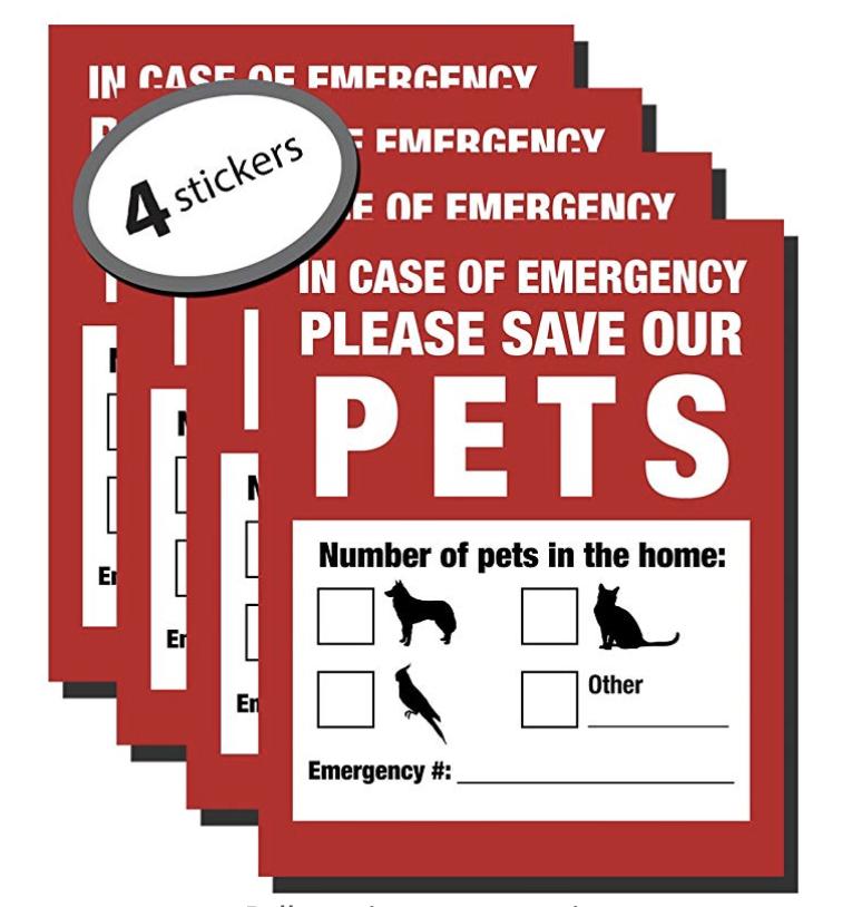 Emergency Pet Stickers