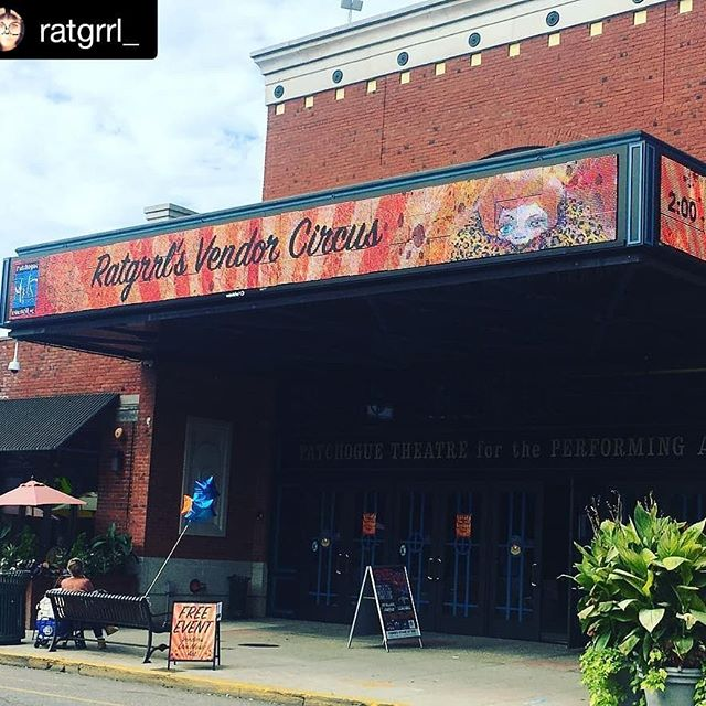Go support local artist @ratgrrl_ circus. ・・・ Yay!! We're ready to go!! #ratgrrl #vendor #circus #merch @patchoguearts #patchogue #longisland #patchoguevillage #art #love #vintage #craft #tarot #readings #live #sketch #painting #music
