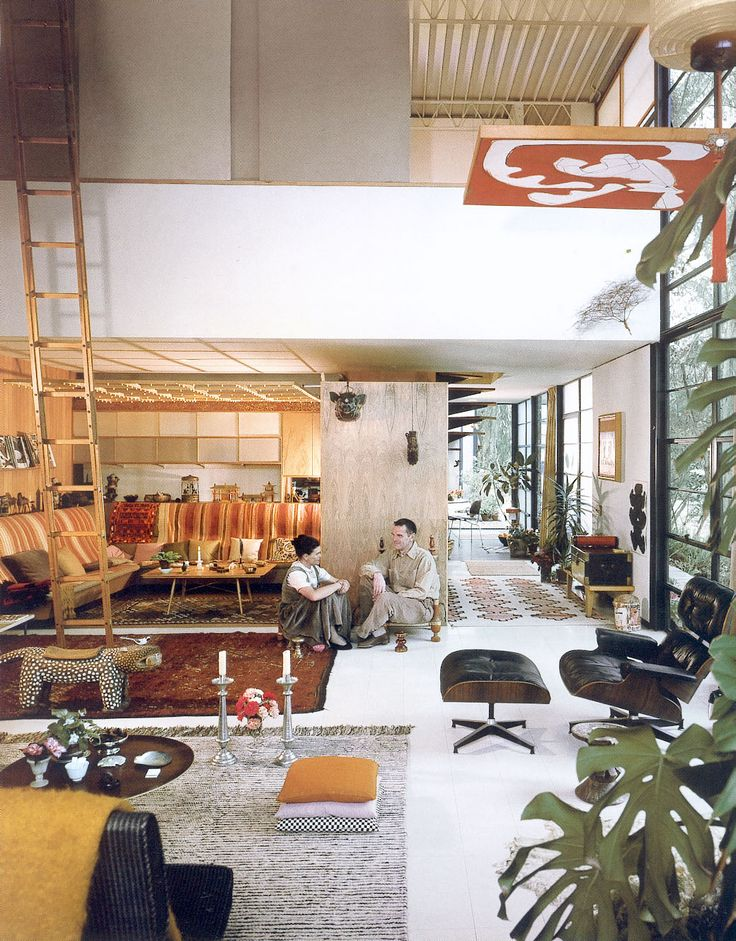 Charles and ray eames pictured in thier home. photo by julius schulman