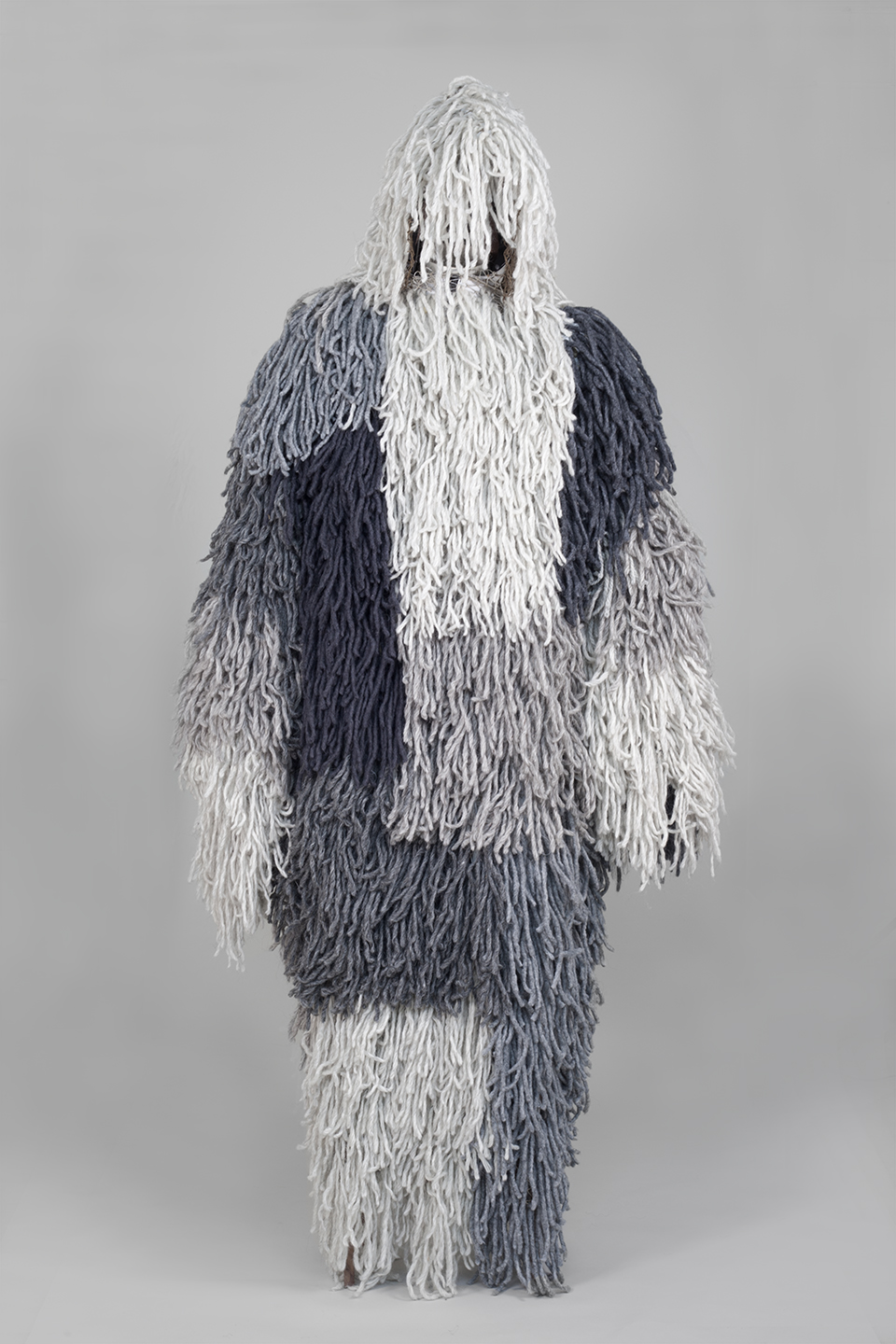 Bunker Ghillie, Wool and Walnut and Synthetic Fibre, 77 x 18 x 34 inches