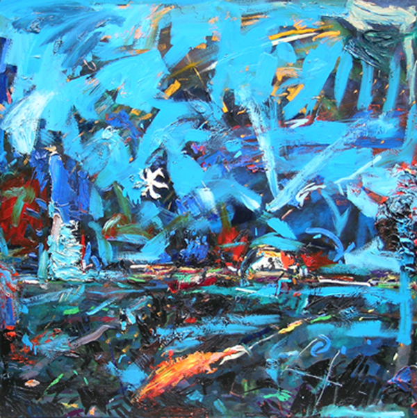 Falling Stars Safe Place,  2006-2007, 48 x 48 inches Private Collection