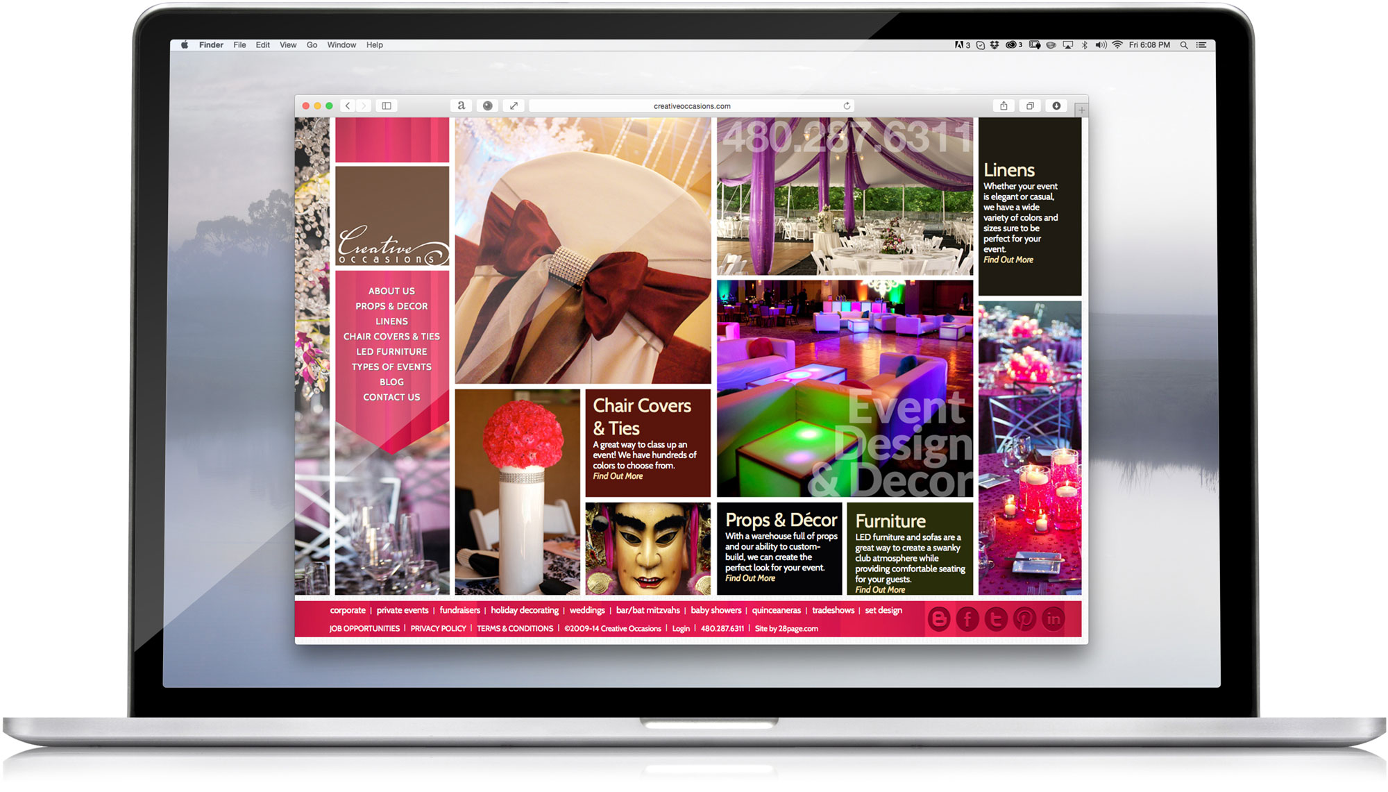 This is the home page of the website. You can visit the actual site at  creativeoccasions.com