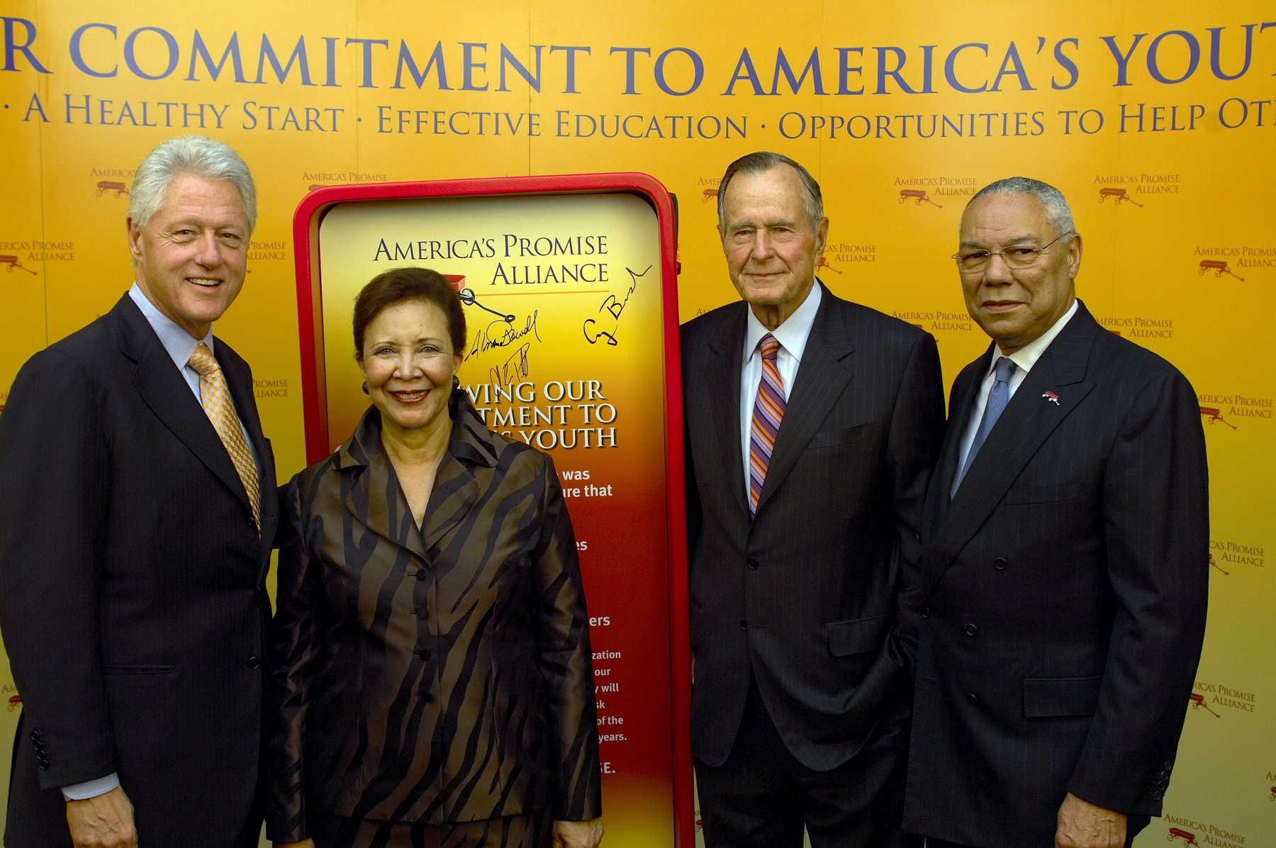 Presidents Clinton and Bush Sr, along with Col Powell and wife Alma at the 10th Anniversary Celebration of America's Promise Alliance