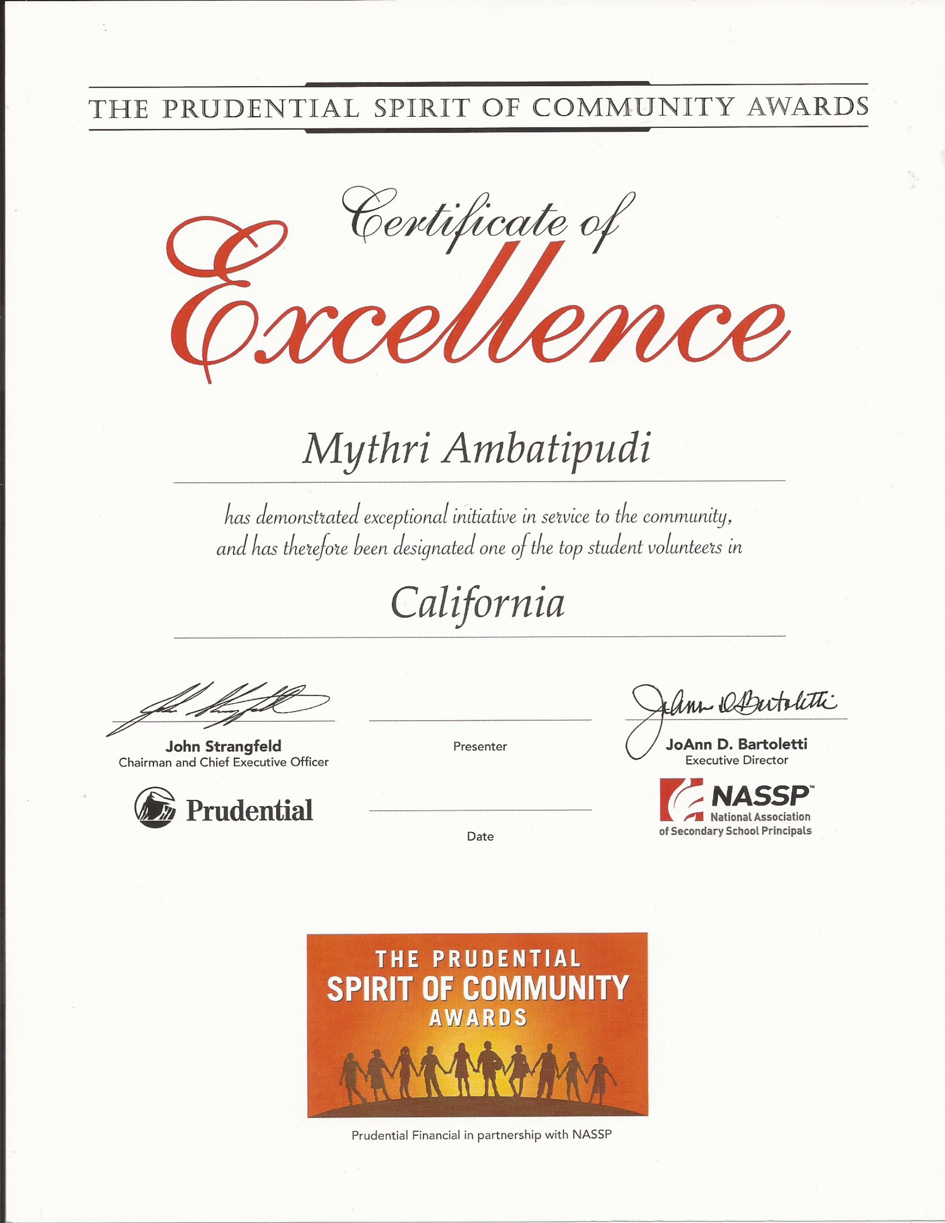 The Prudential Spirit of Community Awards - Mythri was awarded the Prudential Spirit of Community Certificate of Excellence along with a letter from the President of United States. This award honors outstanding community service by young Americans. Mythri's volunteer activities, on behalf of WoolyWarmth, were judged to be among the top 10% of all those considered in California in 2017.