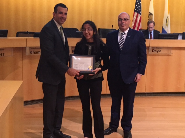 San Jose City Council & Mayor Commendation - On December 6, 2016, San Jose City Council recognized the work done by WoolyWarmth.  Councilmember Johnny Khamis graciously introduced Mythri Ambatipudi, the president of WoolyWarmth. Mayor Sam Liccardo along with Councilmember Khamis presented Mythri with a commendation.