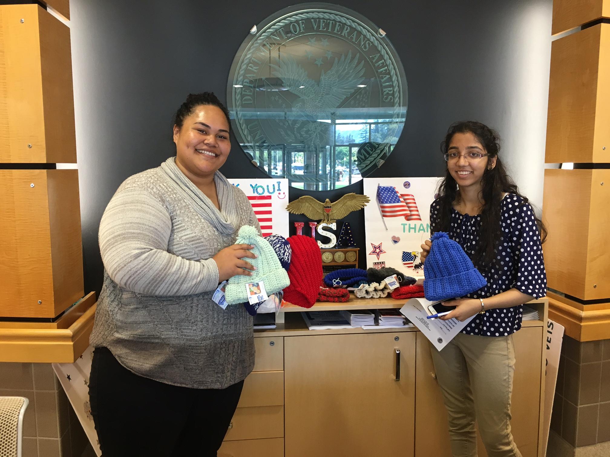 Mythri making a donation at the Veterans Affairs Hospital, Palo Alto