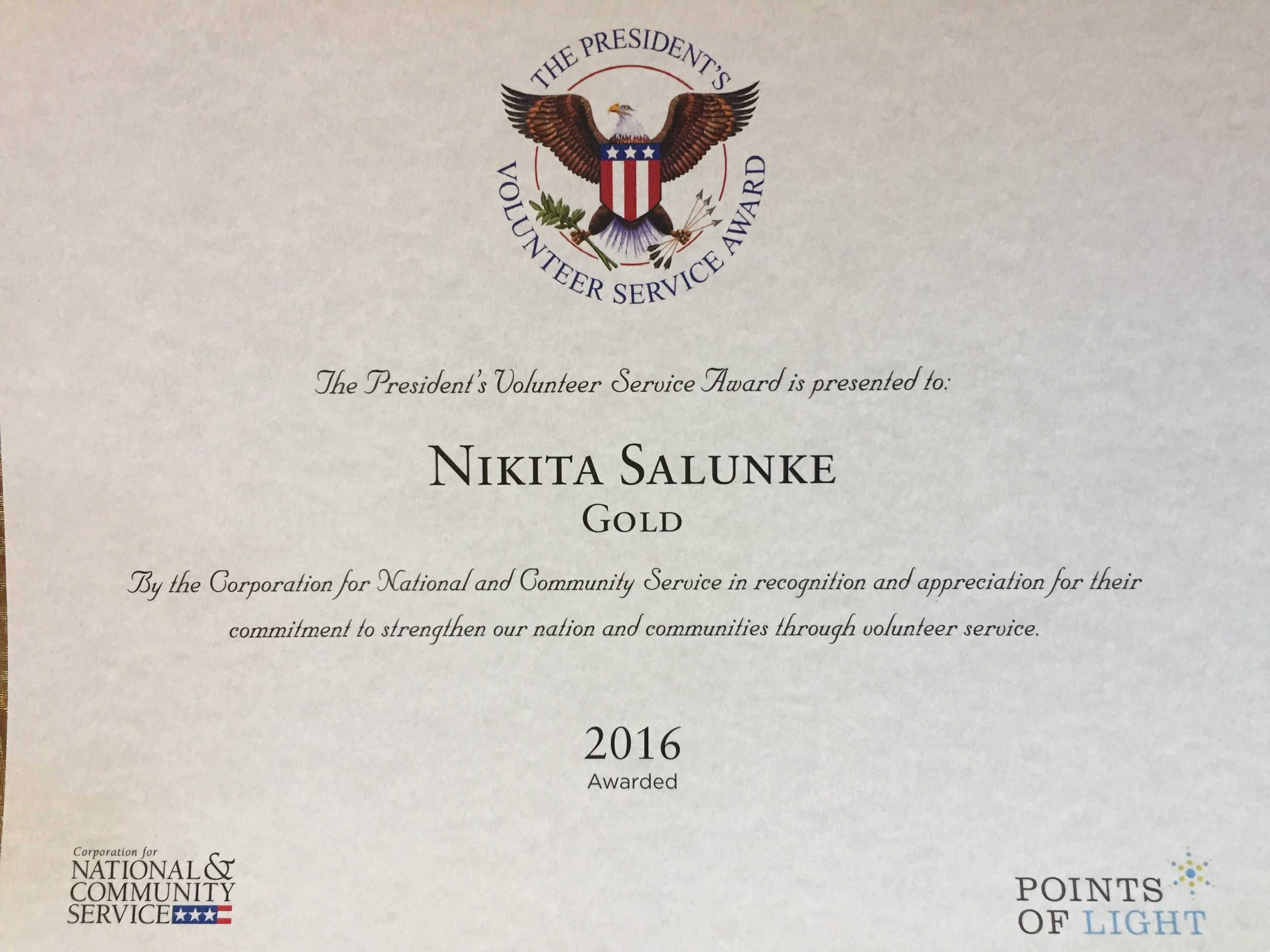The President's Volunteer Service Award  - In recognition of her work, on behalf of WoolyWarmth, Nikita was awarded a gold medal and a certificate from the President in 2016.