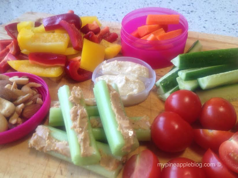 A sample of my favourite non sugar snacks. easy to prepare and stack in fun pink containers!