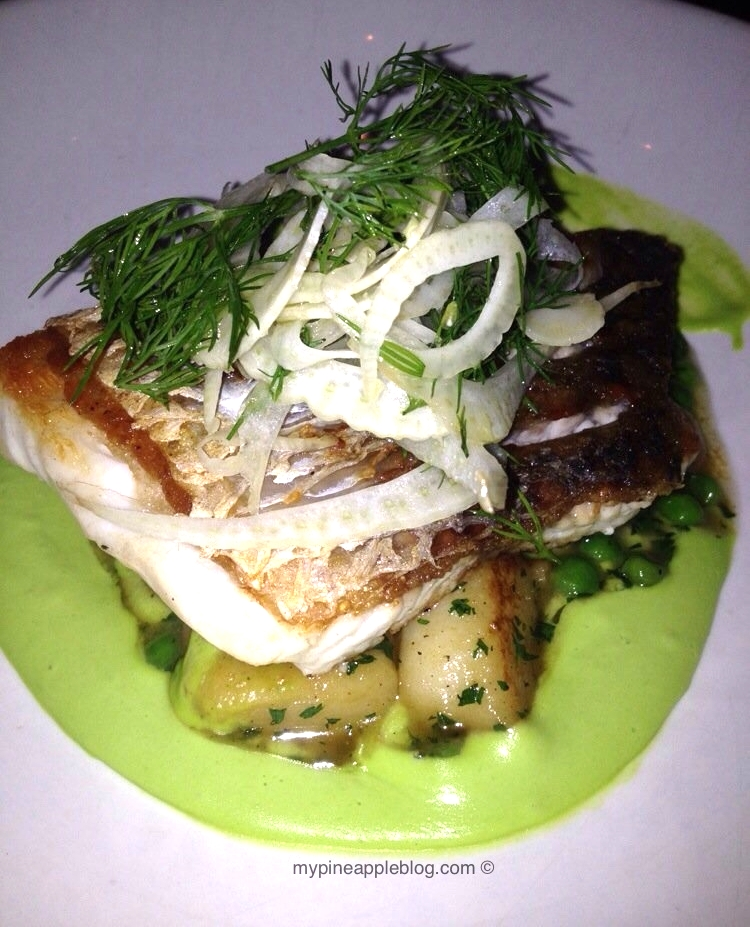 Cone Bay Barramundi fillet, pea veloute, pan fried gnocchi, shaved fennel & dill