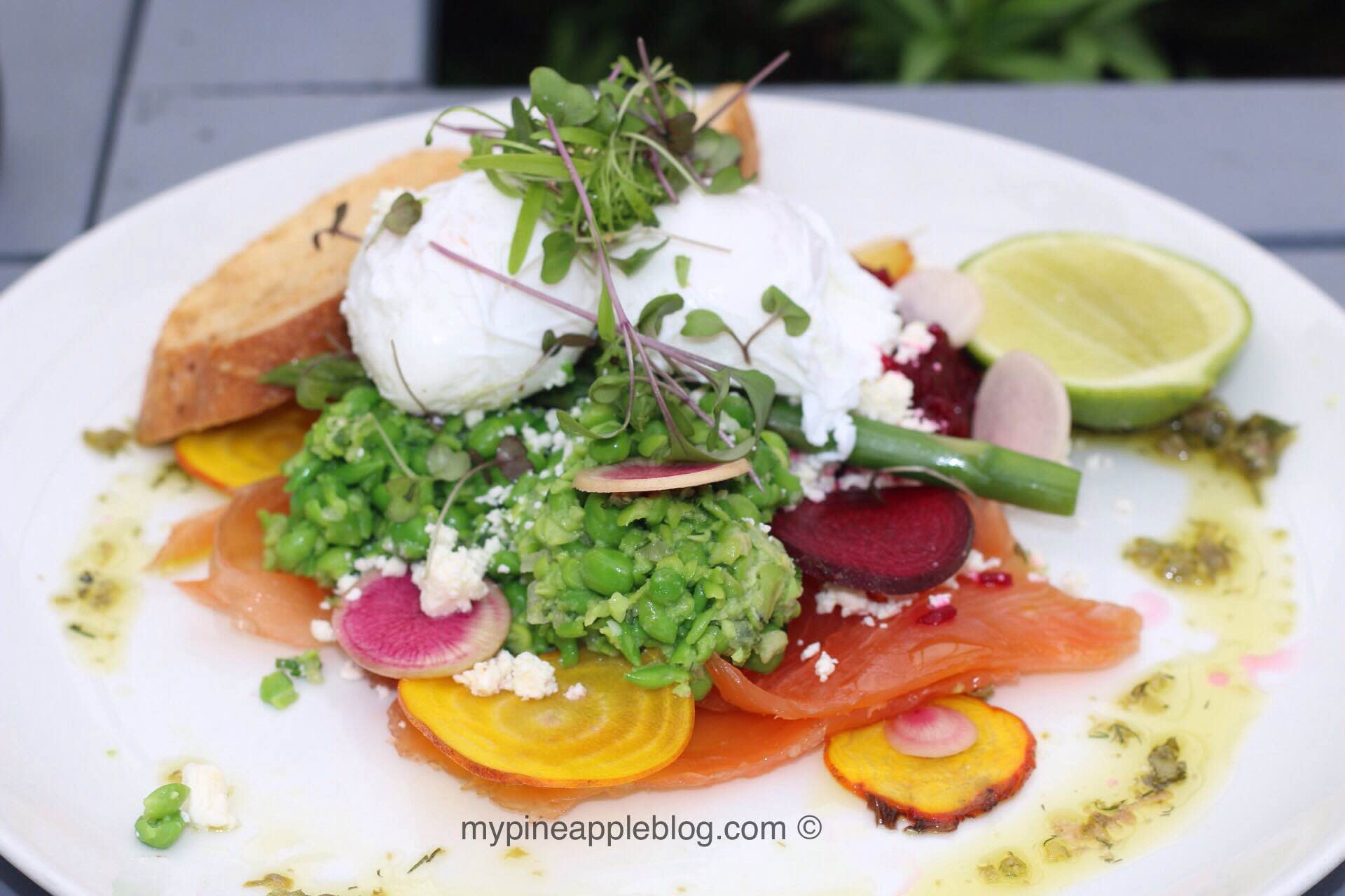 Brunch - Tall Timber's salmon gravlax with beetroot, smashed peas, poached eggs and feta