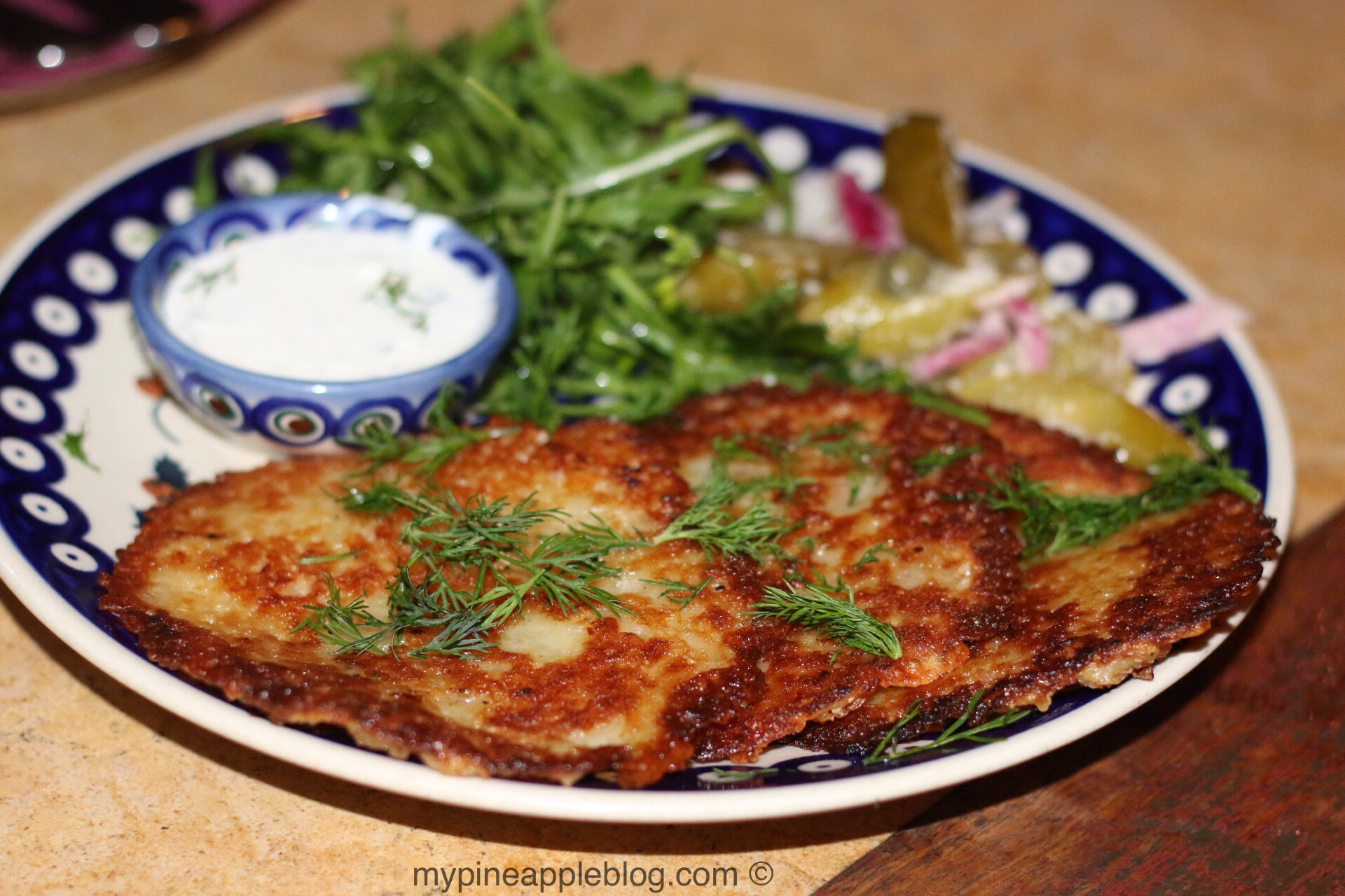 Some much needed carbs in the form of potato blintzes with dill and sour cream