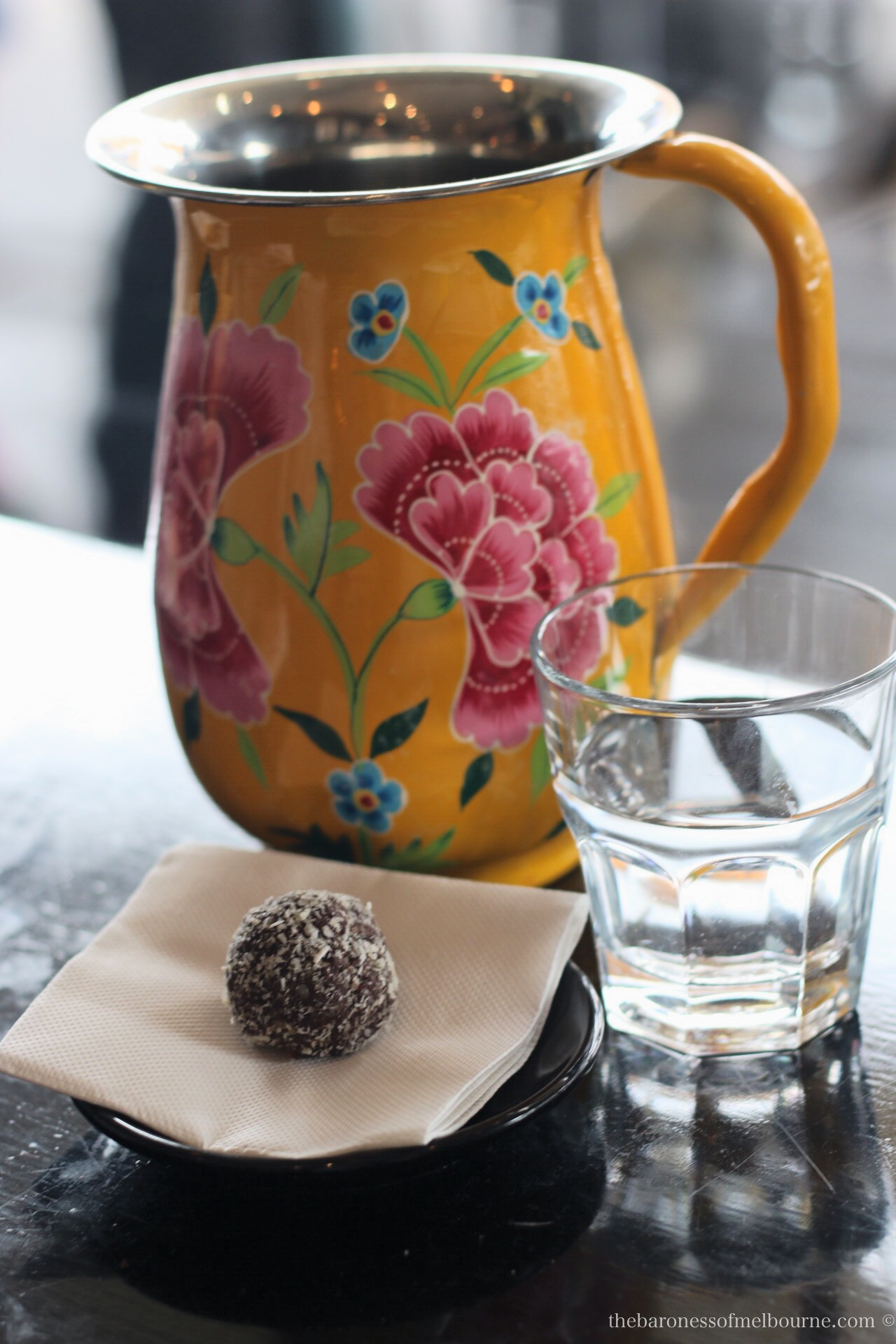 Such a pretty water jug and a very good goji berry protein ball