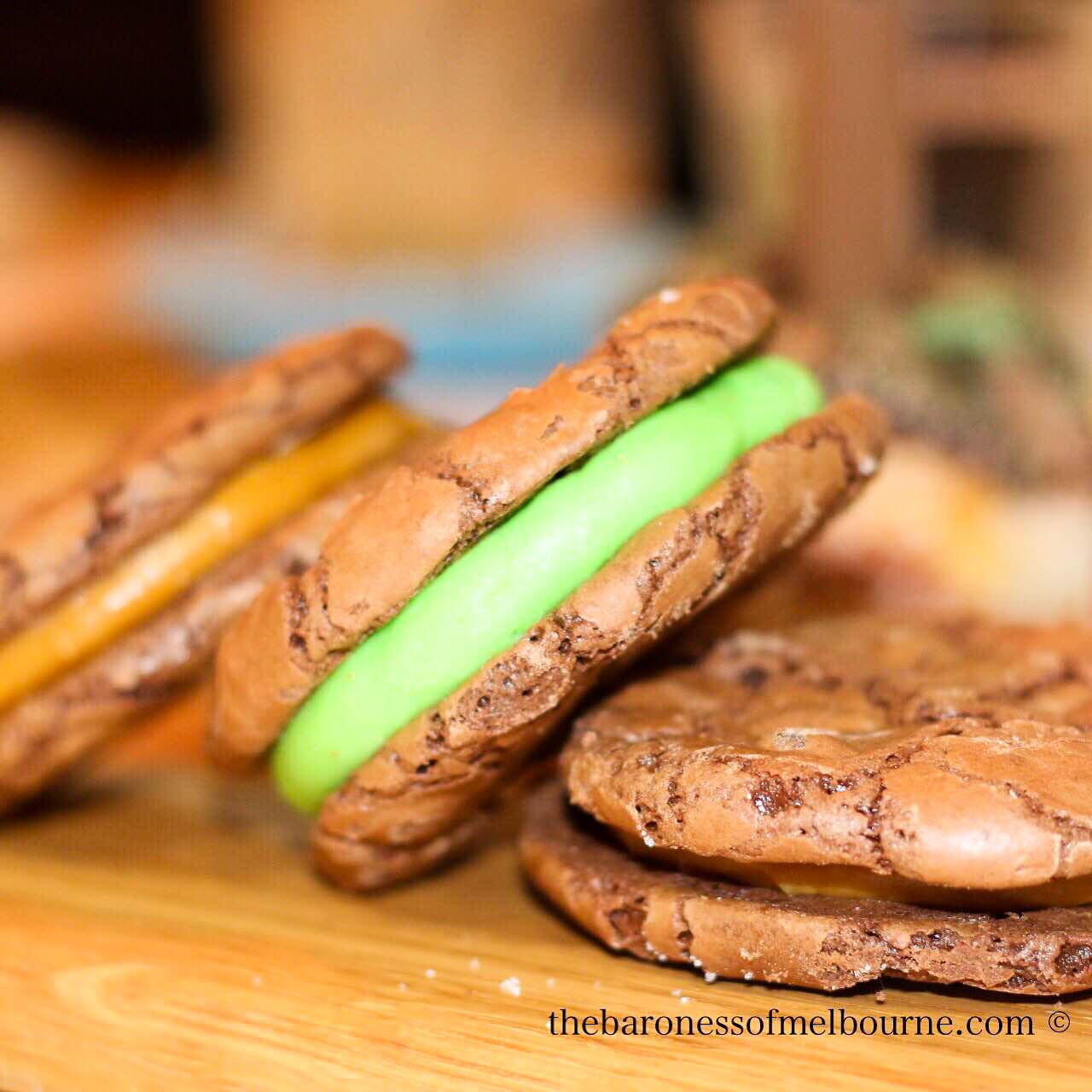 The amazing peppermint crisp chocolate brownie cookie sandwich by Bistro Morgan