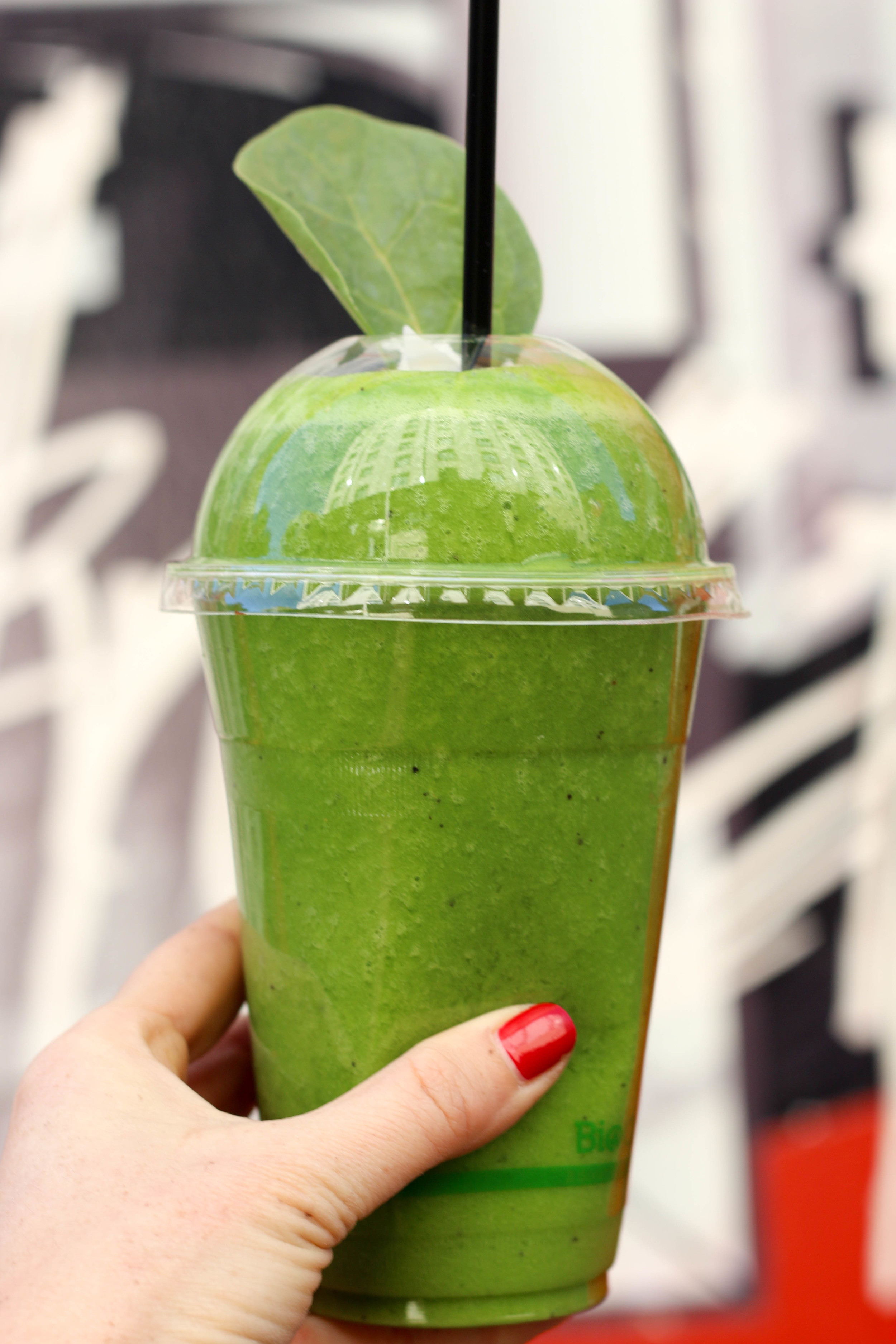 The Smiley Green vegan smoothie from The Wolf, The Bean, The Walnut