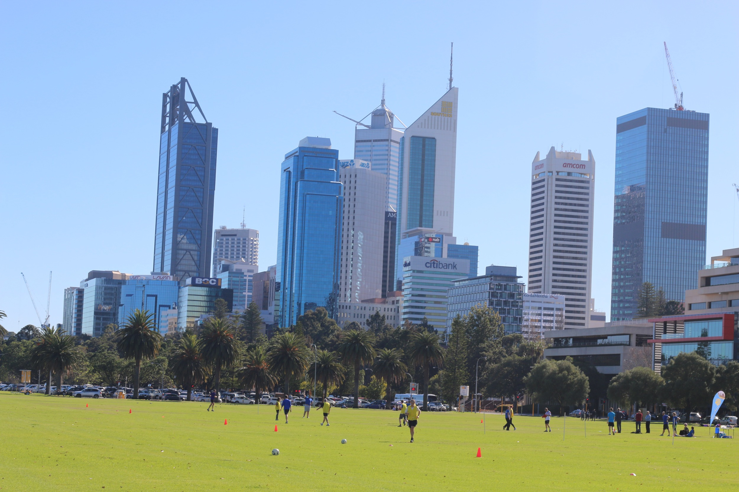Your view of the Perth CBD as you run along the Swan River