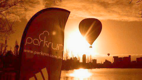 Just a typical sunrise with a hot air balloon over Albert Park Lake