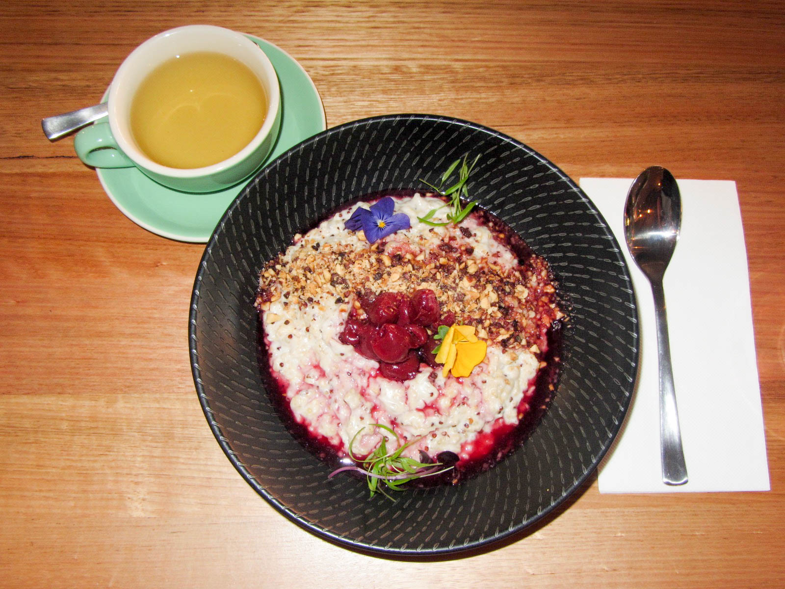 My super food coconut porridge and peppermint tea by Larsen & Thompson