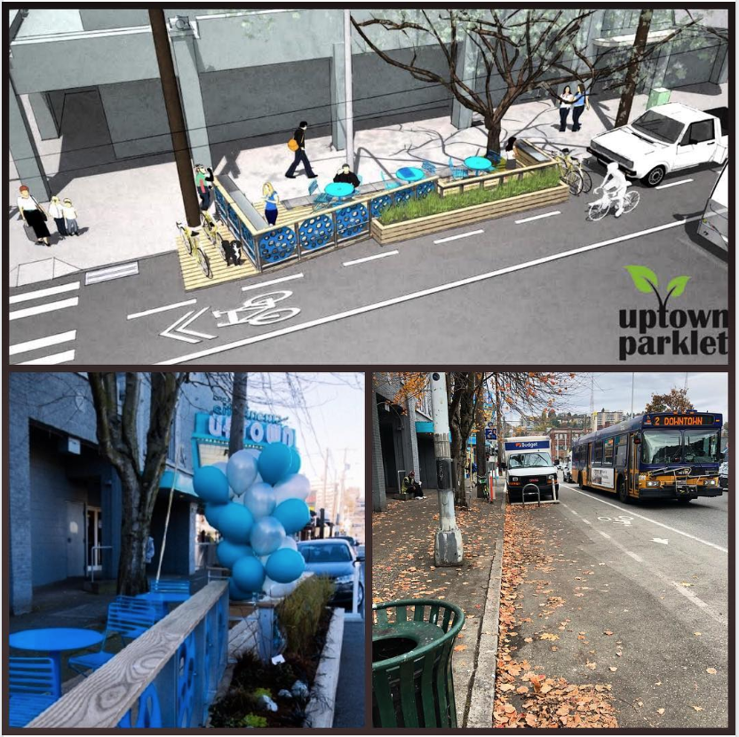Top - Parklet concept from 2012. Lower left - Parklet opening in Feburay 2015. Lower right - Parklet removed in October 2018.