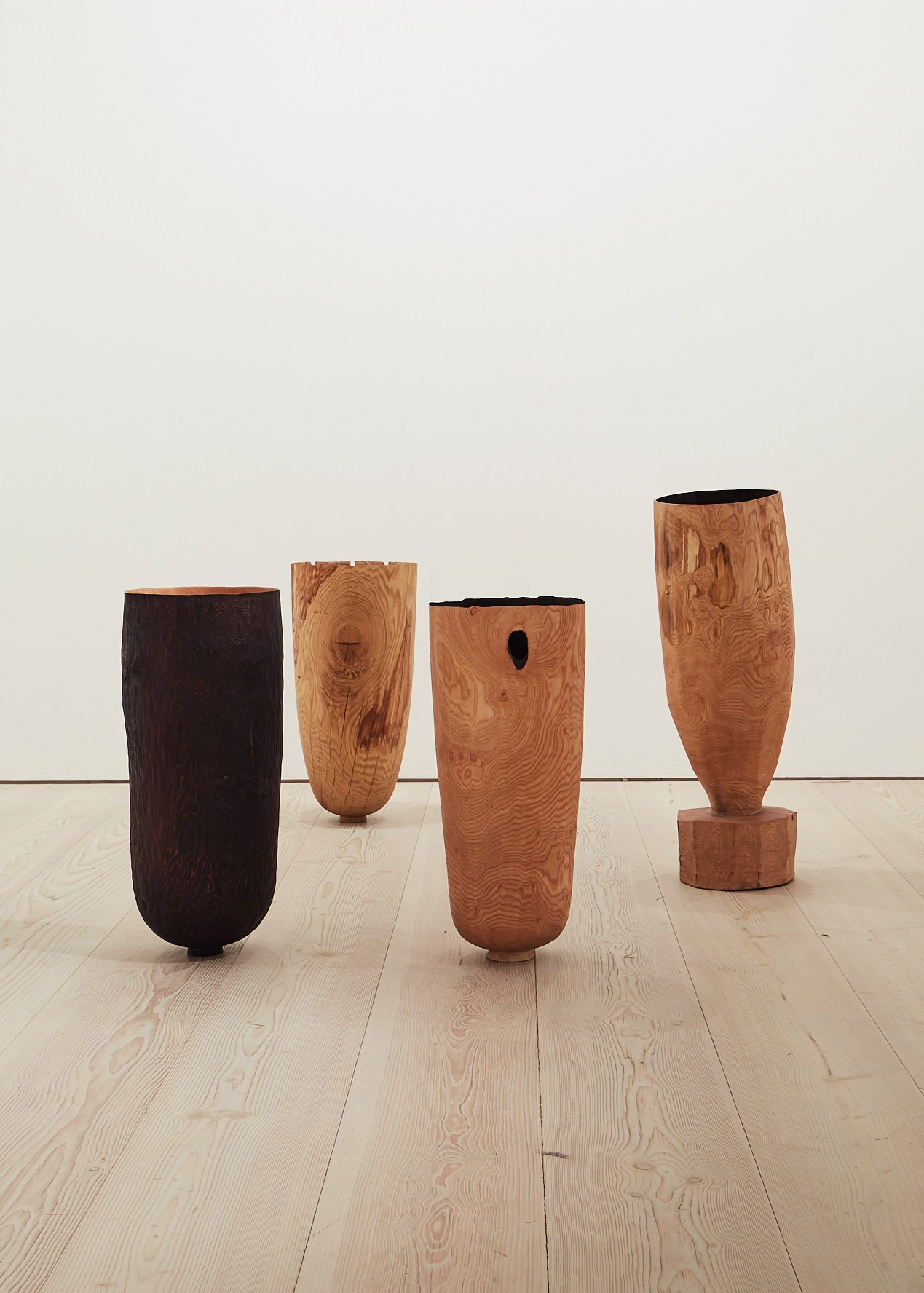 Burnt, Fallen, Hollowed and Hewn Vessels  | green oak and sweet chestnut, 2018  Installation View: Collect Open, Saatchi Gallery, London | Image by Yeshen Venema