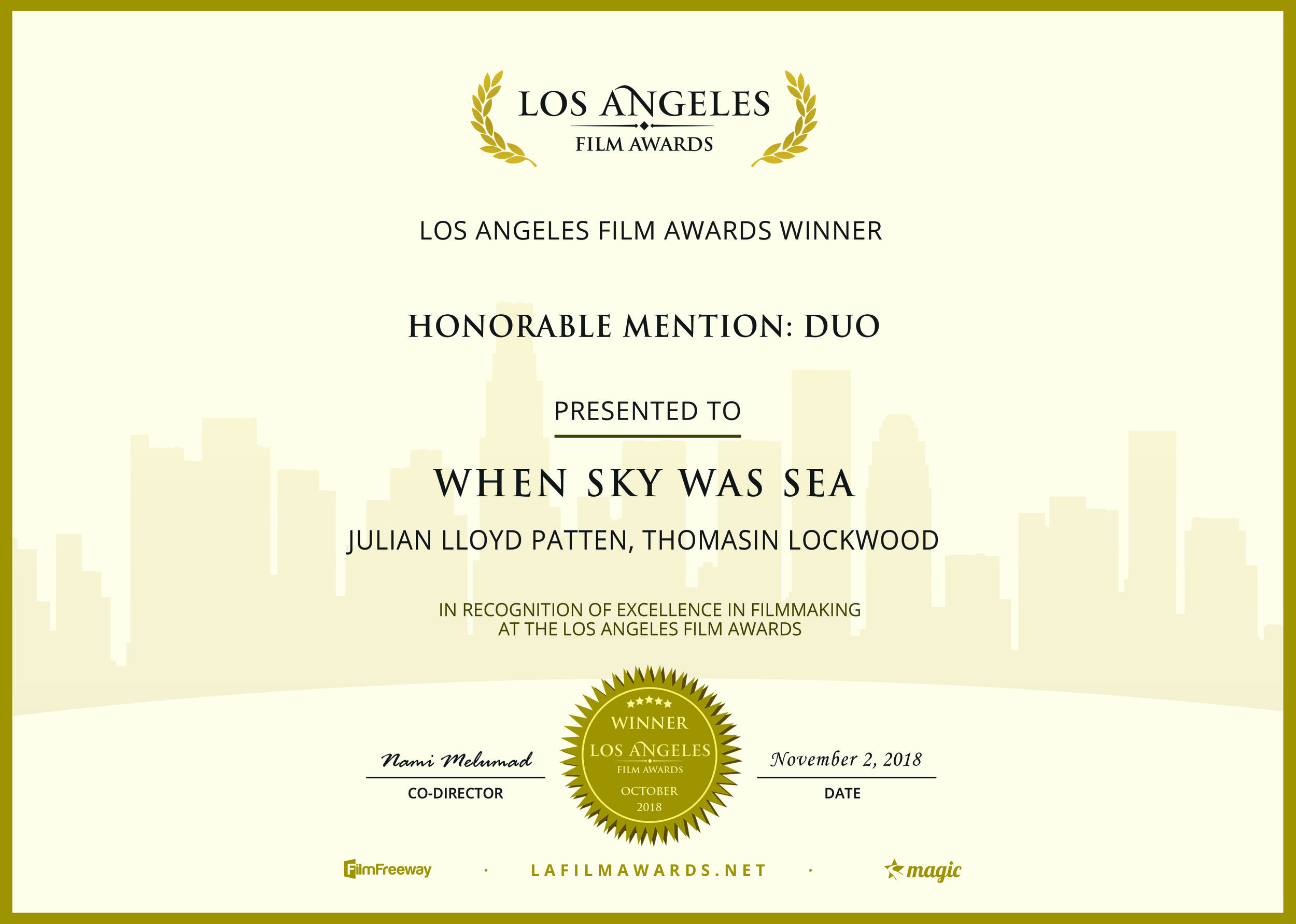 Los Angeles Film Awards (2018) - Best Duo in a Short Film (Honorable Mention)