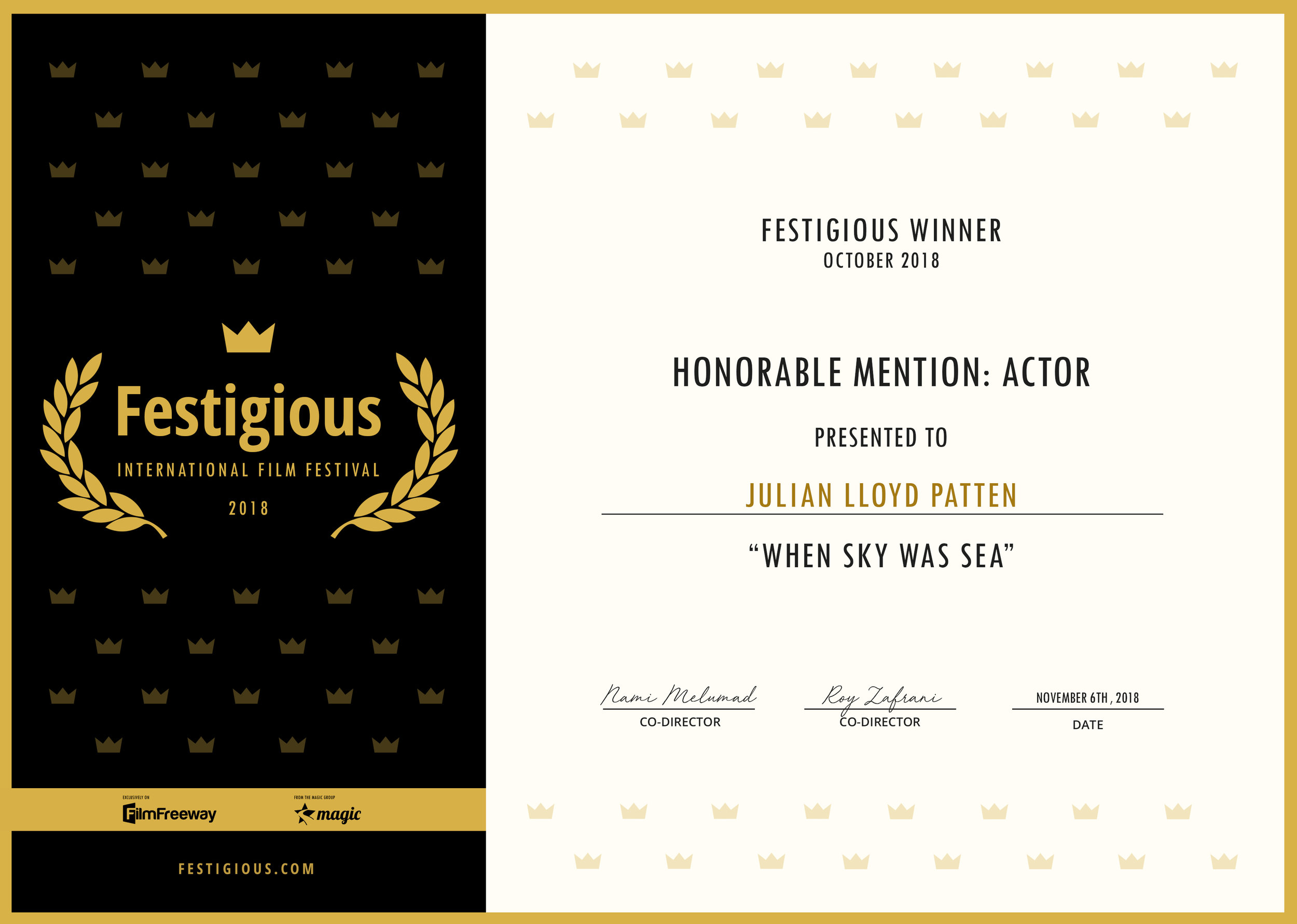 Festigious International Film Festival (2018) - Best Actor (Honorable Mention)