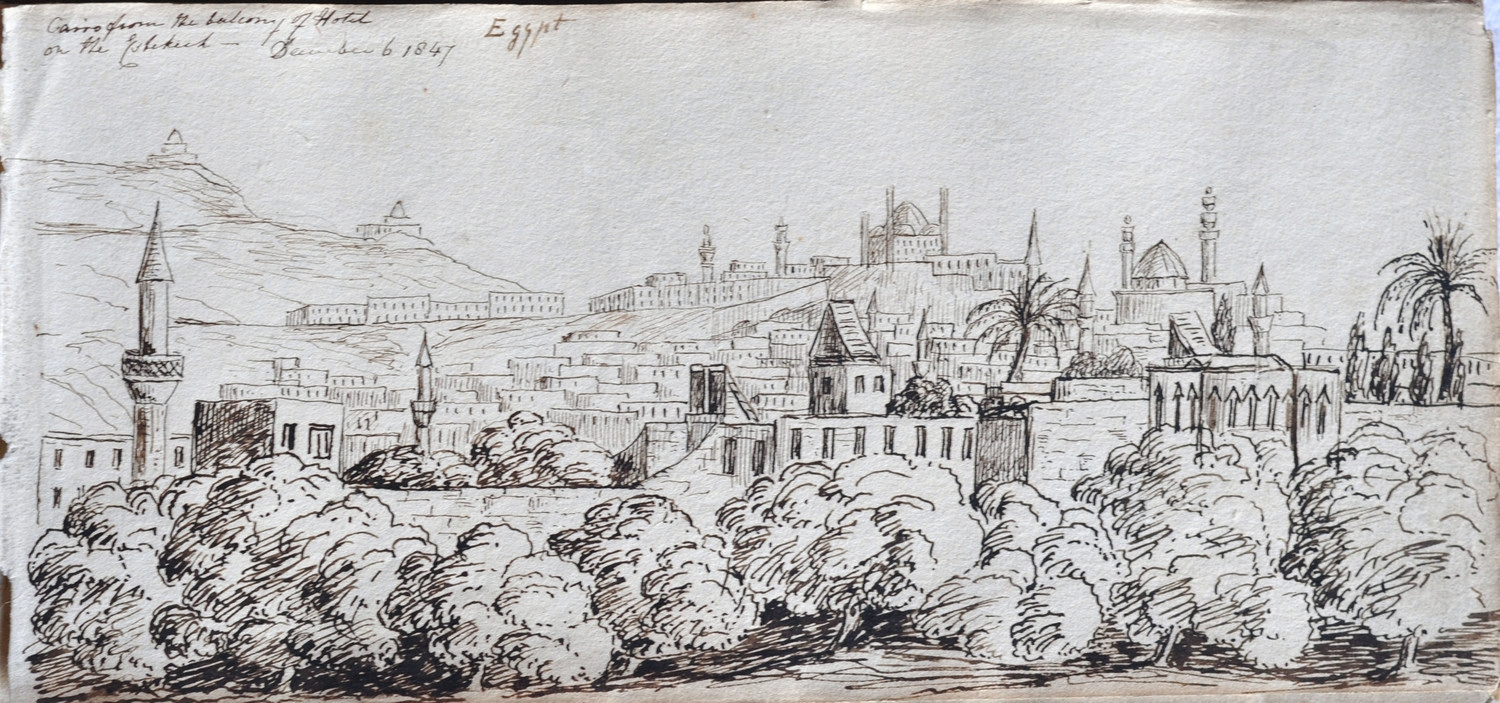 Figure 2. View of Cairo from Hotel Balcony, December 6th, 1847.