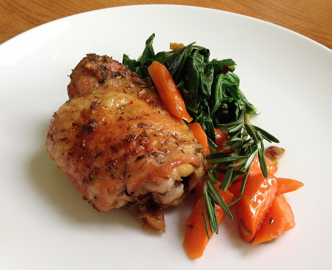 Herb-Roasted Chicken with Mustard Greens and Carrots