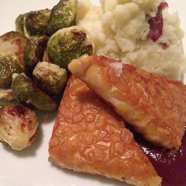 Sunday night dinner:  mashed red potatoes, roasted Brussels sprouts, seared tempeh,  and a little makeshift BBQ sauce (once in a long while ketchup is called for! )  #foodwithmelinda #personalchef #catering #vegan #glutenfree #mashedpotatoes #tempeh #brusselssprouts