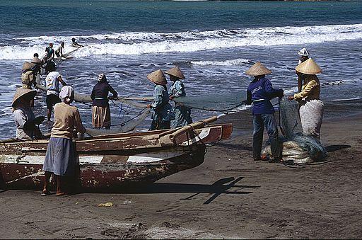 Fishermen in Pangadaran, Indonesia