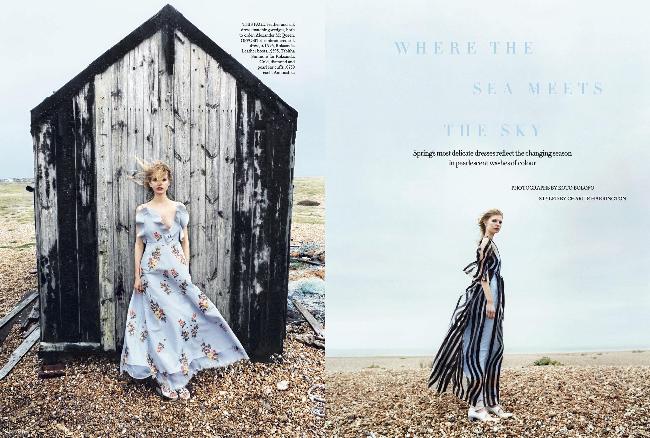 Ola Rudnicka Cover Story for Harper's Bazaar, styled by Charlie Harrington. Spread 1.