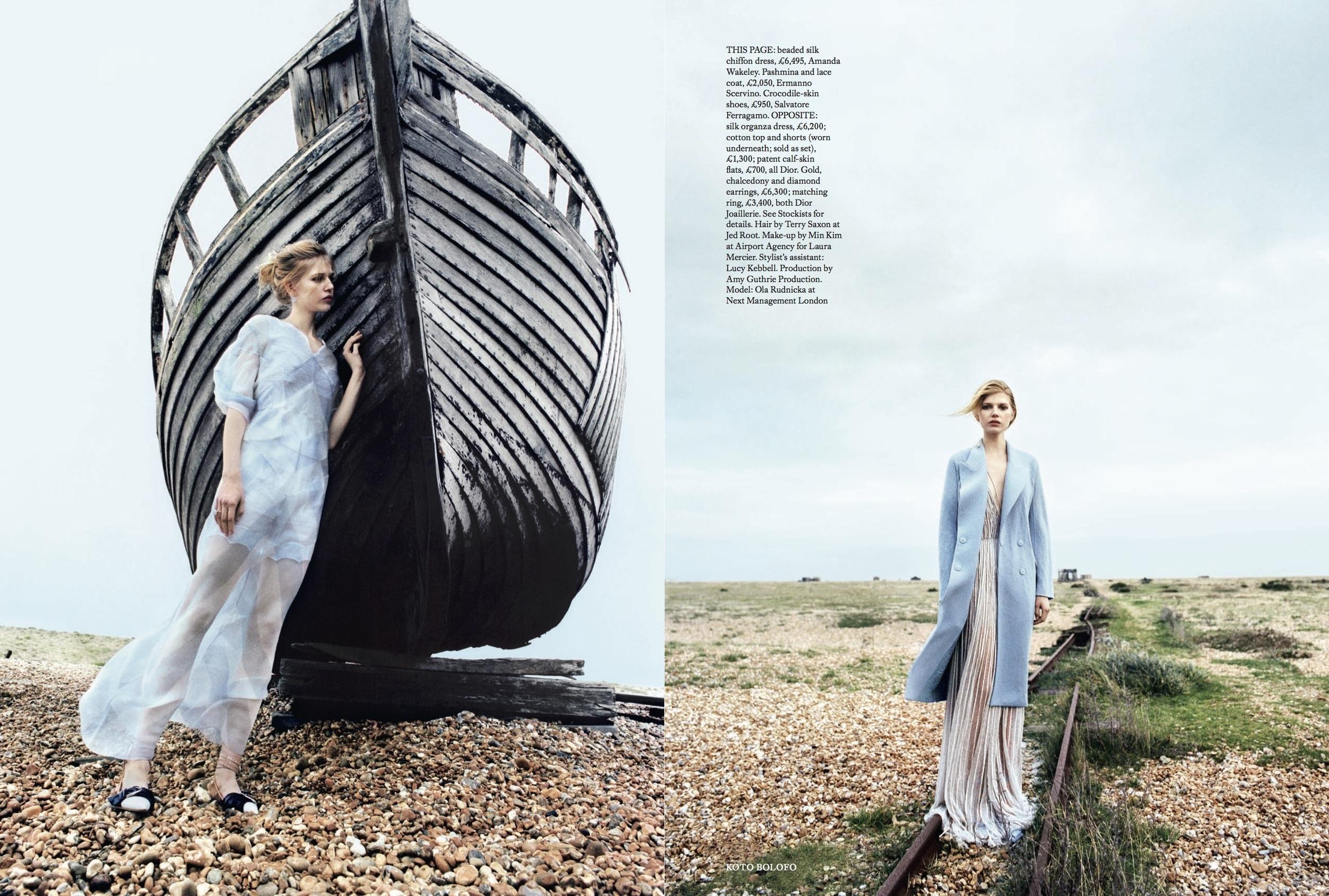 Ola Rudnicka Cover Story for Harper's Bazaar, styled by Charlie Harrington. Spread 6.