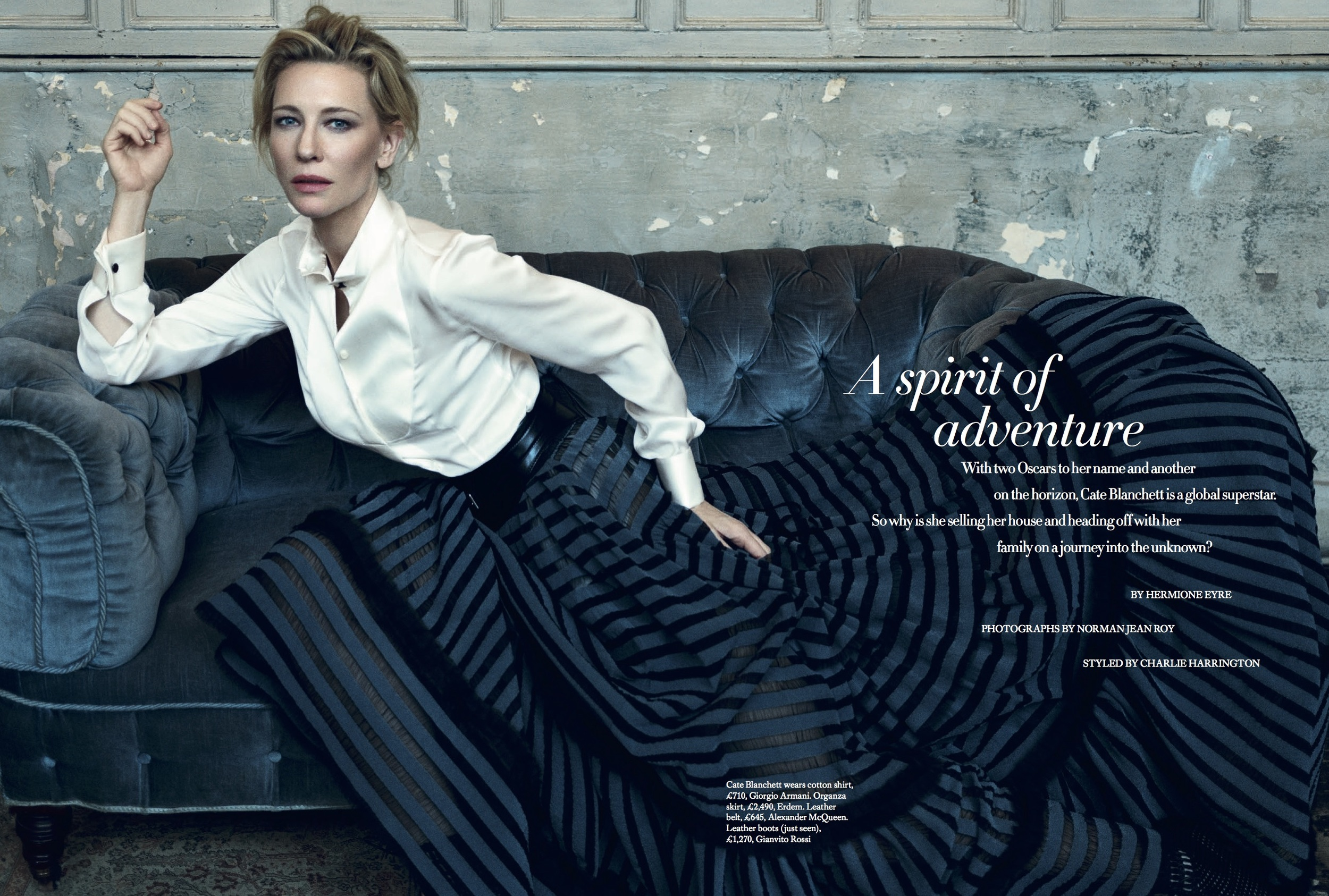 Cate Blanchett Cover Story for Harper's Bazaar, styled by Charlie Harrington. Spread 1.