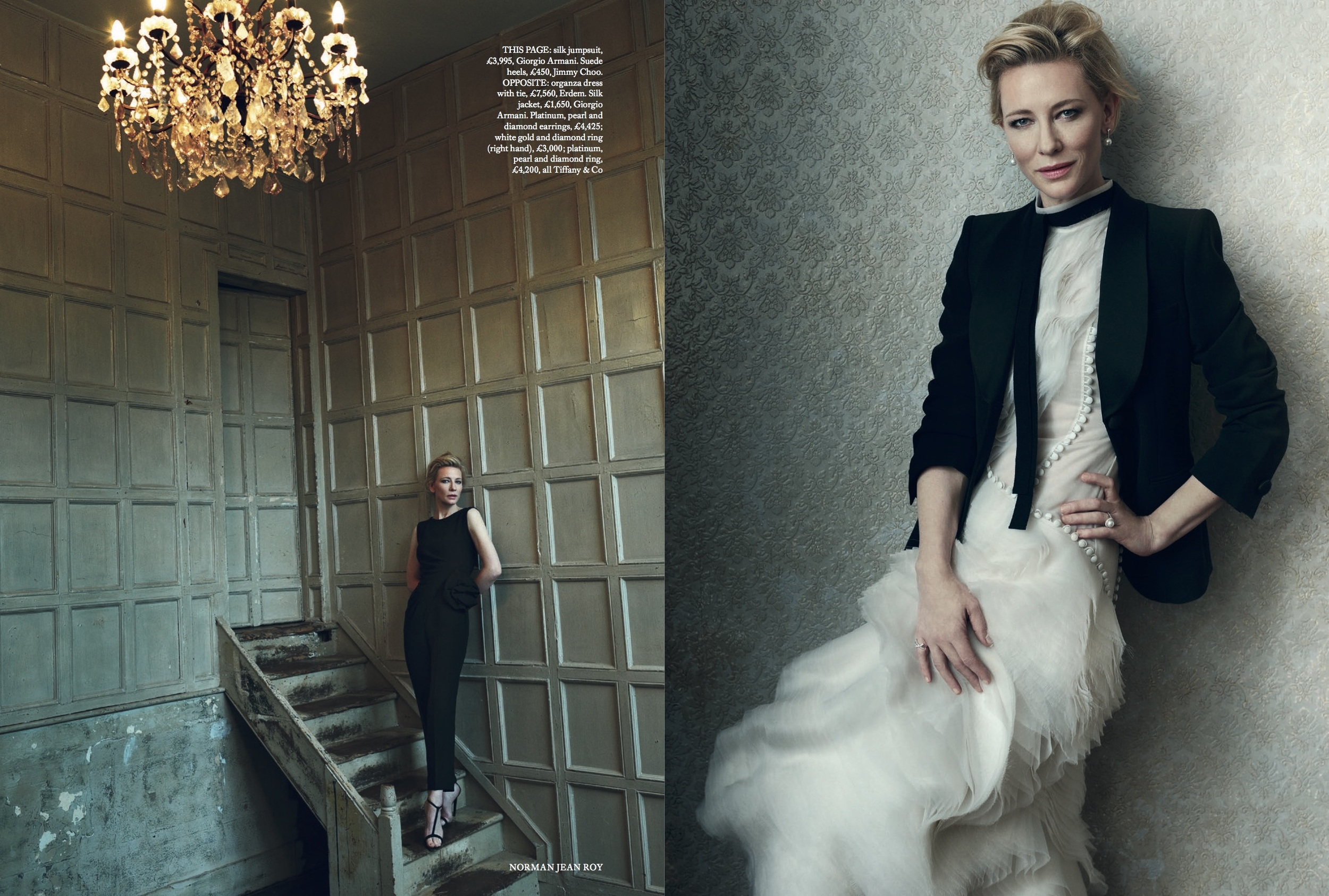 Cate Blanchett Cover Story for Harper's Bazaar, styled by Charlie Harrington. Spread 3.