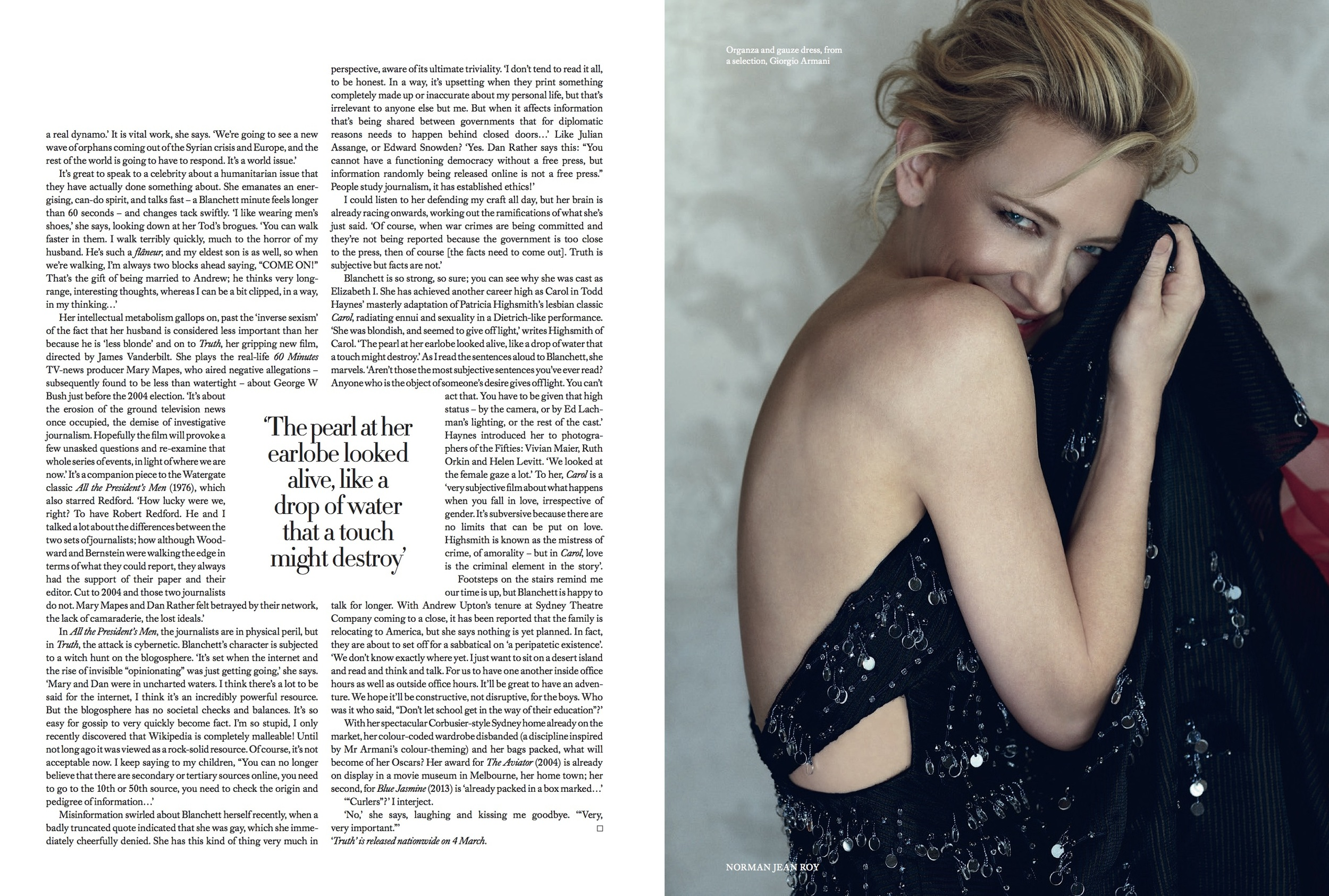Cate Blanchett Cover Story for Harper's Bazaar, styled by Charlie Harrington. Spread 4.