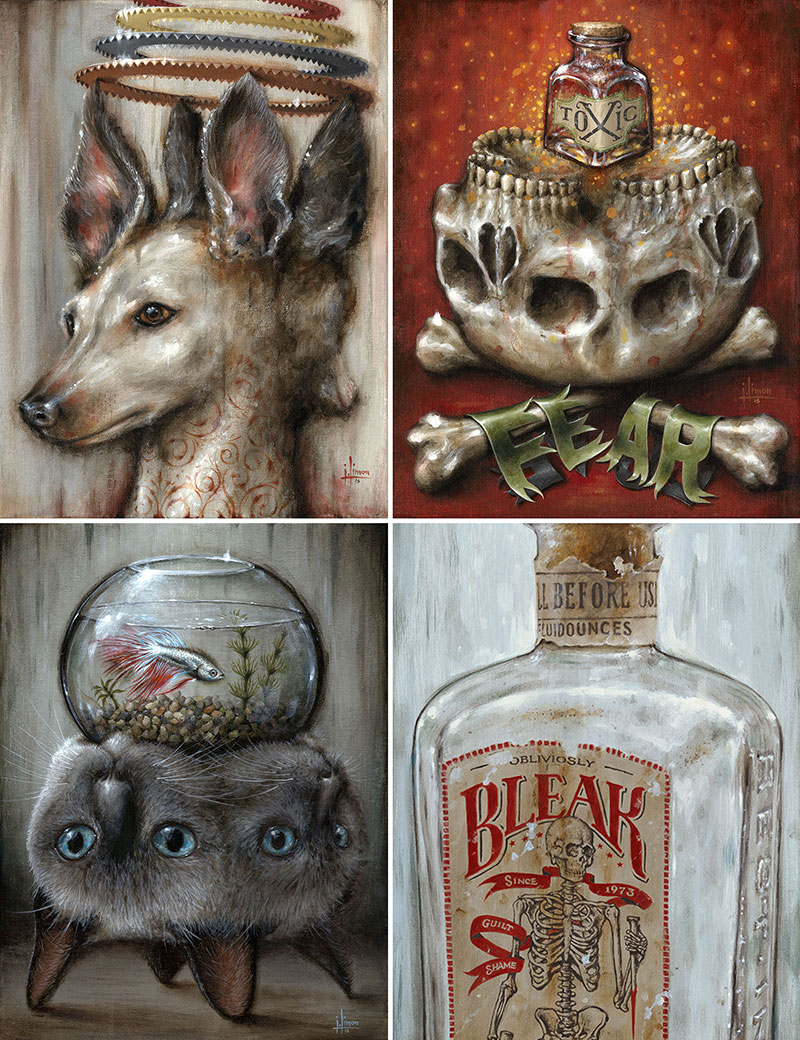 Double Dog (12x16 / *$65), Toxic (11x14 / *$60), Risky Reservoir (12x16 / *$65), Bleak (8x24 / *$65)   *Print Price