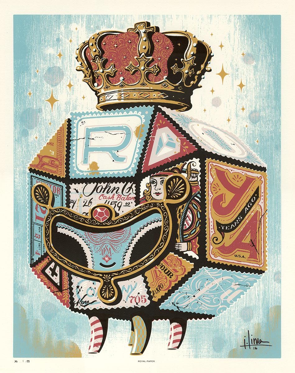 "Royal Paper, 16""x20"", Four Spot Color Screen Print, Ed. 75, $40"