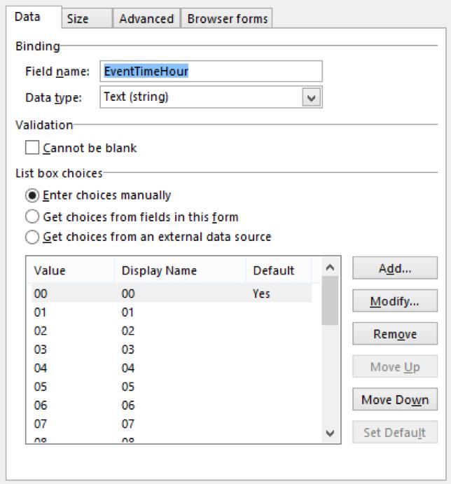 InfoPath Manually set dropdown values