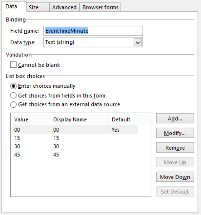 InfoPath Manually configure Minute Dropdown