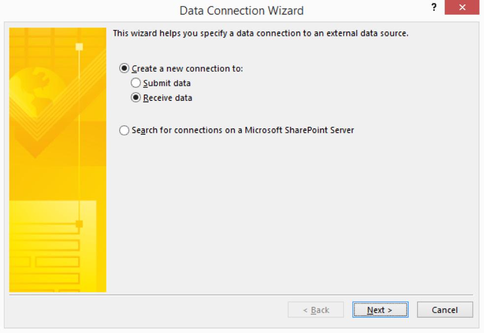 InfoPath Data connection wizard receive data