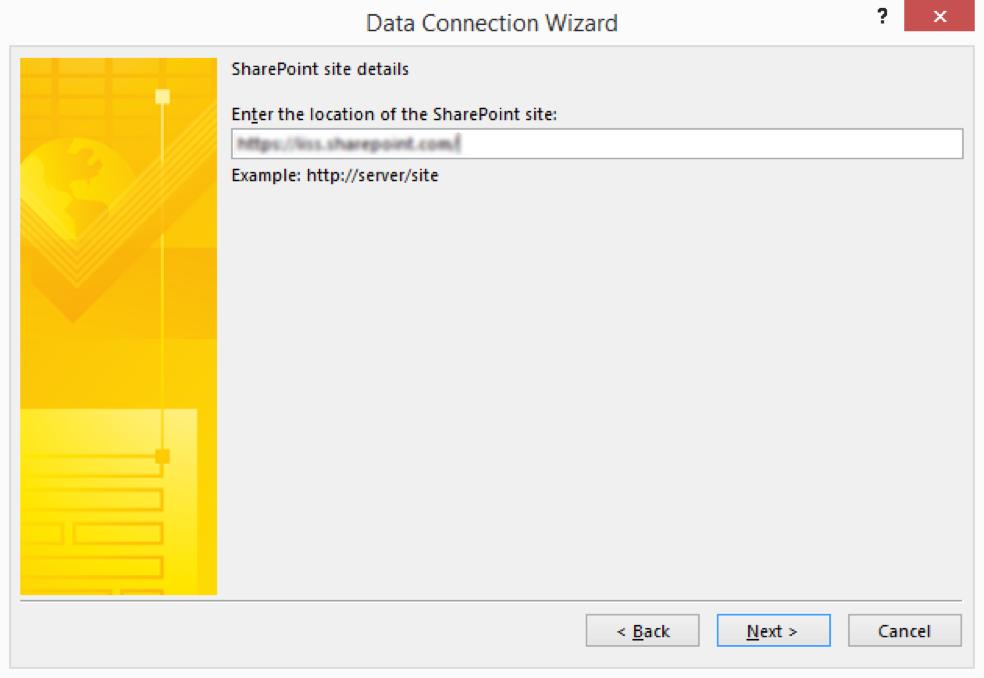 InfoPath data connection SharePoint site URL
