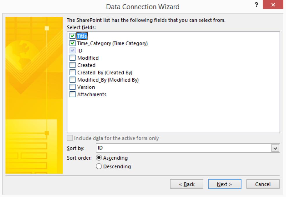 InfoPath Data Connection select columns