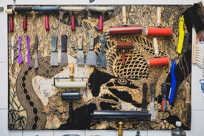 Tools in a local art studio