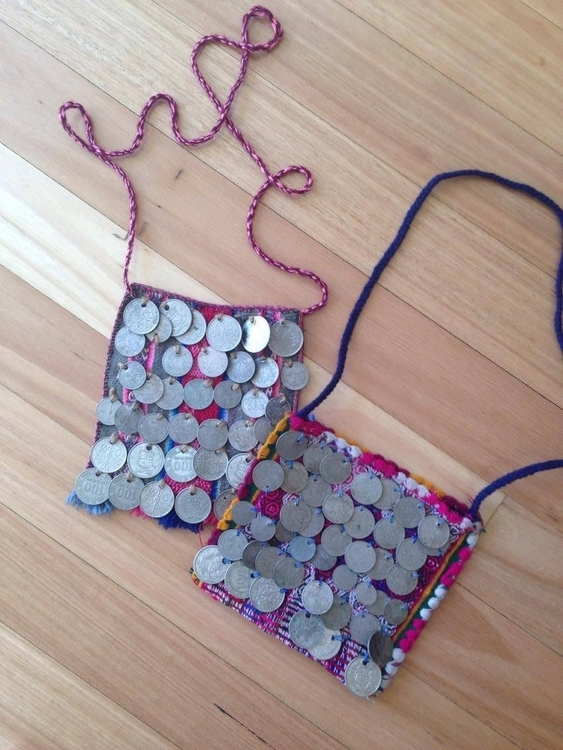BOLIVIAN COIN CHUSPA BAGS   STATUS: IN STOCK